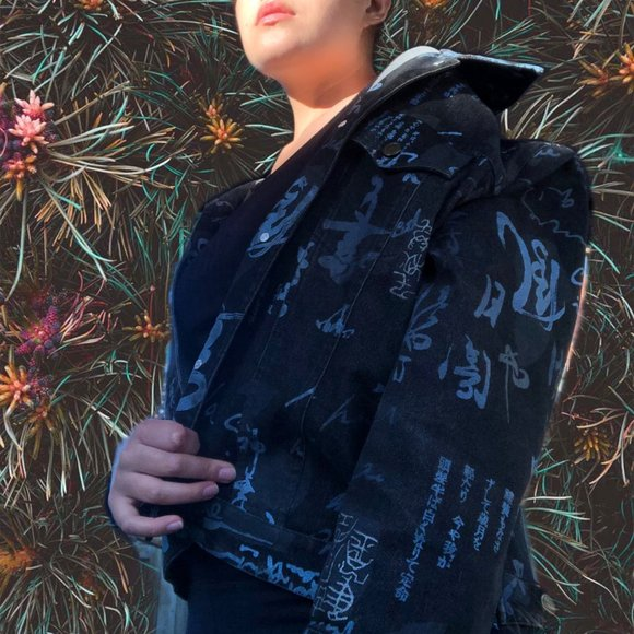 BIANCA NYGARD black-denim jacket with blue design